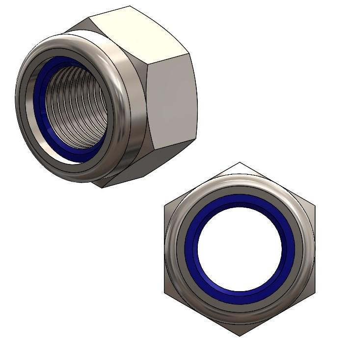 Nylock-Muttern niedrig M12 galv. verz. DIN 985/ ISO10511